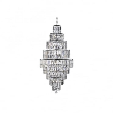 EMPIRE - 13 Light Tiered Chandelier Chrome With Clear Crystals