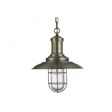 FISHERMAN - Caged Ceiling Pendant Antique Brass Seeded Glass Shade