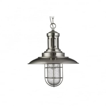 FISHERMAN - Caged Ceiling Pendant Satin Silver Seeded Glass