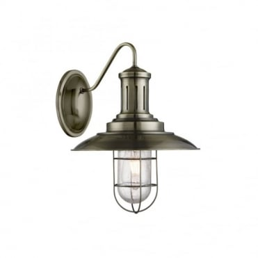 FISHERMAN - Caged Wall Light Antique Brass Seeded Glass