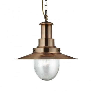 FISHERMAN - Pendant 1 Light Large Ceiling Pendant Copper With Seeded Glass