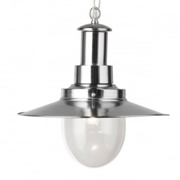 FISHERMAN - Pendant Satin Silver With Glass Shade