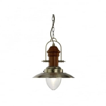FISHERMAN - Traditional Nautical Ceiling Pendant Dark Wood and Antique Brass