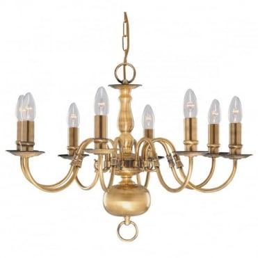 FLEMISH - 8 Light Antique Brass Fitting