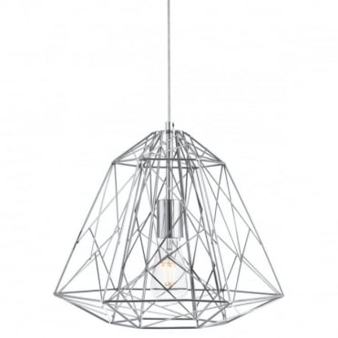 GEOMETRIC - Cage 1 Light Frame Ceiling Pendant Chrome