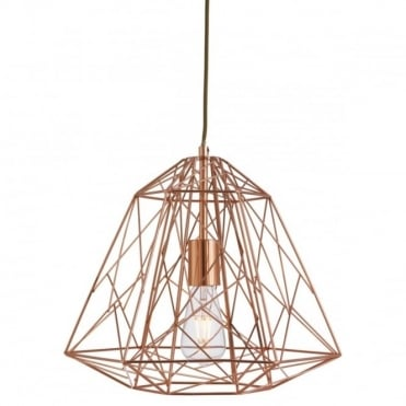 GEOMETRIC - Cage Ceiling Pendant Shiny Copper