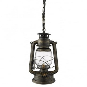 HURRICANE - Ceiling Ceiling Pendant Miners Lantern Black and Gold With Clear Glass