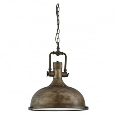 INDUSTRIAL - Pendant 1 Light Weathered Ceiling Pendant With Frosted Glass Diffuser