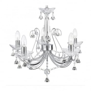 LAFAYETTE - 5 Light Chandelier Chrome With Clear Crystal Decoration