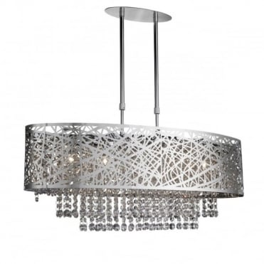 LICA - 5 Light Oval Semi-Flush Ceiling Light In Chrome With Clear Crystal Drops