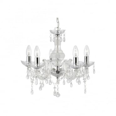 MARIE THERESE 5 Light Acrylic Clear Chandelier