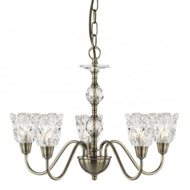 MONARCH - 5 Light Ceiling Ab With Stack Clear Glass Balls