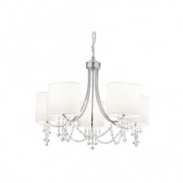 NINA - Chrome/Clear Beads 5 Light Fitting White Shades