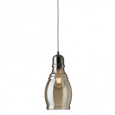 OLSSON - Amber Glass Ceiling Pendant With Chrome
