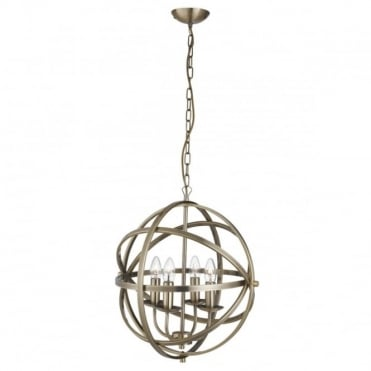 ORBIT - 4 Light Cage Frame Orb Ceiling Pendant Antique Brass