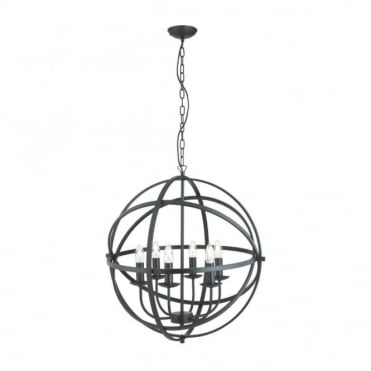 ORBIT - 6 Light Cage Frame Orb Ceiling Pendant Matt Black