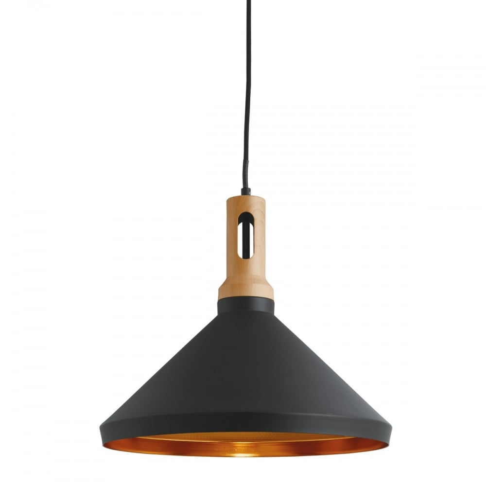 Modern black gold wood effect ceiling pendant lighting and lights uk pendant 1 light cone gold inner black outer with wood effect mozeypictures Image collections