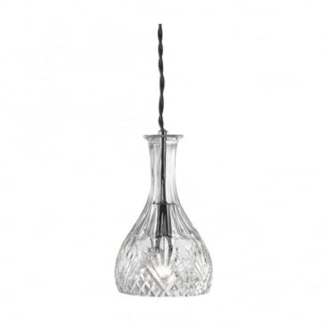 PENDANT - 1 Light Rounded Decanter Cut Glass