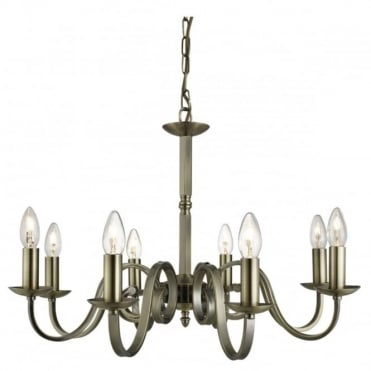 RICHMOND - 8 Light Ceiling Pendant Scroll Arms Antique Brass