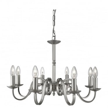 RICHMOND - 8 Light Ceiling Pendant Scroll Arms Satin Silver