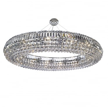 VESVIUS Extra Large Oval Chrome and K9 Crystal Ceiling Pendant 123cm