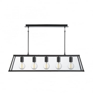 VOYAGER - 5 Light Lantern Bar Matt Black Glass