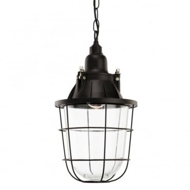 BAY Pendant, Black with Clear Glass