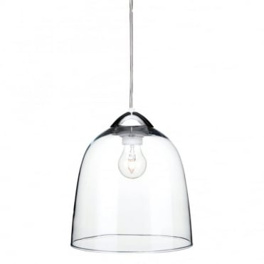 BORDEAUX - Hand Blown Clear Glass Ceiling Pendant Chrome