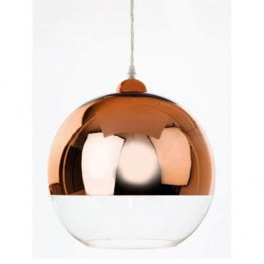 CLUB - Pendant Copper And Clear Glass