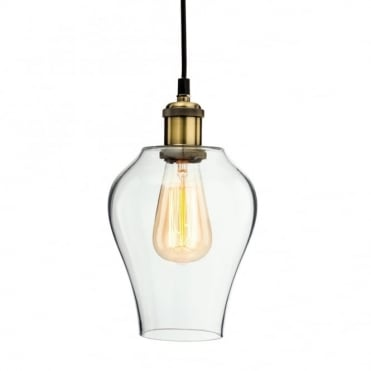 EMPIRE Pendant, Antique Brass with Clear Glass