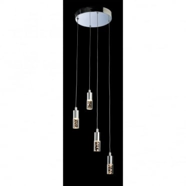 FOCUS LED 4 Light Pendant, Chrome with Clear Acrylic Bubble Shades