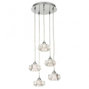LISBON 5 Light Pendant, Chrome with Clear Decorative Glass