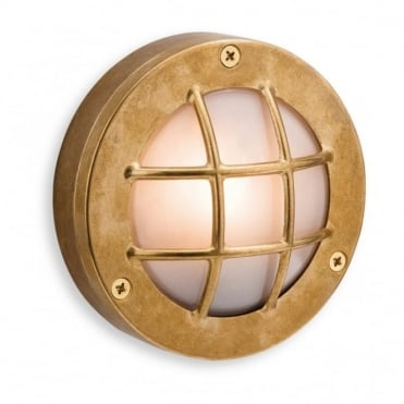 NAUTIC - Bathroom Outdoor Wall Light Brass With Frosted Glass