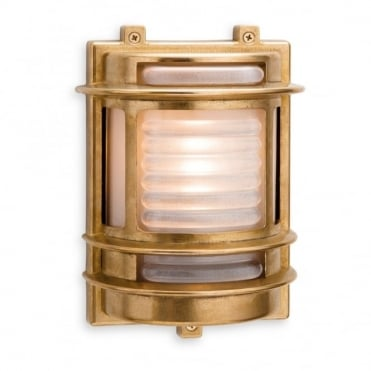 NAUTIC - Exterior Outdoor Wall Light Nickel Frosted Glass