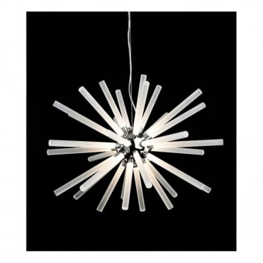 STARBURST LED Pendant, Chrome with Frosted Acrylic Shades