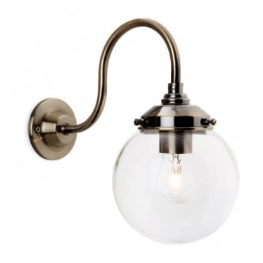 VICTORIA - Wall Light Antique Brass With Clear Glass Globe