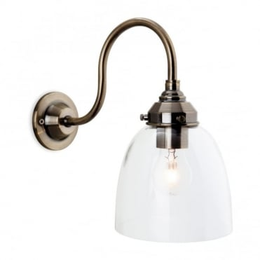 VICTORIA - Wall Light Antique Brass With Clear Glass