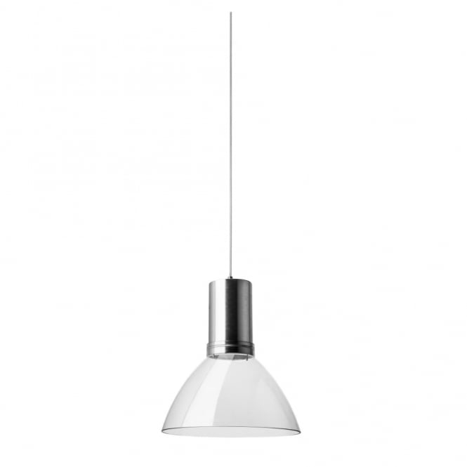 BELL - LED Sharp 18W Satin Aluminium and Clear Ceiling Pendant