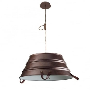 BUCKET - 3 Light Old Brown Rustic Bucket Ceiling Pendant