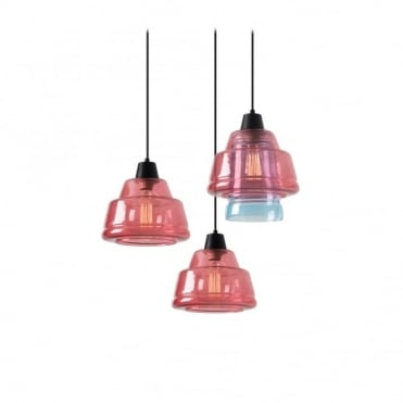 COLOR - Modern 3 Light Ceiling Pendant Cluster Pink and Blue Glass Shades