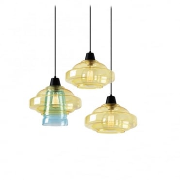 COLOR - Modern 3 Light Ceiling Pendant Cluster Yellow and Blue Glass Shades