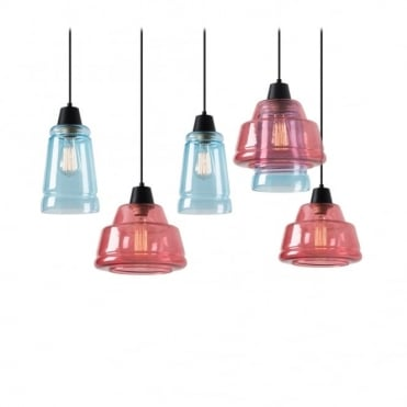 COLOR - Modern 5 Light Ceiling Pendant Cluster Pink and Blue Glass Shades
