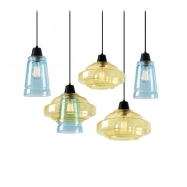 COLOR - Modern 5 Light Ceiling Pendant Cluster Yellow and Blue Glass Shades