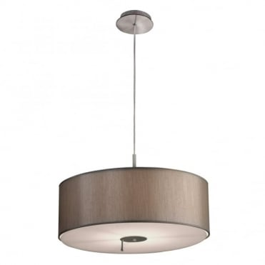 DRUM - Satin Nickel and Taupe Shade Dual Light Source Ceiling Pendant