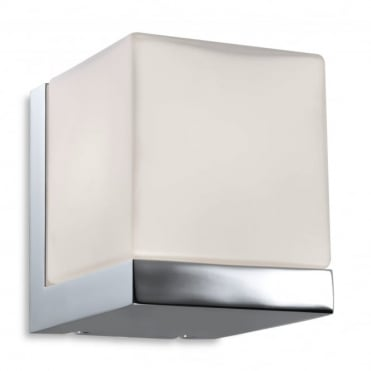 ORION - Modern Bathroom Cube Wall Light Chrome White Opal Glass