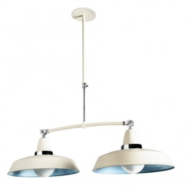 VINTAGE - 2 X E27 100W Off White Chrome Ceiling Pendant