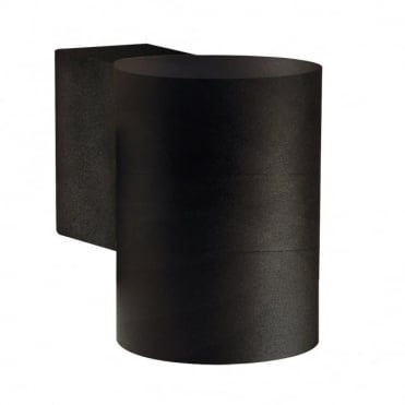TIN - Modern Cylindrical Exterior Wall Light Black