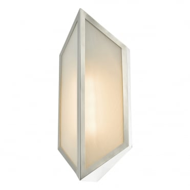 TOCA IP44 Art Deco Wall light in Etched Glass and Stainless Steel