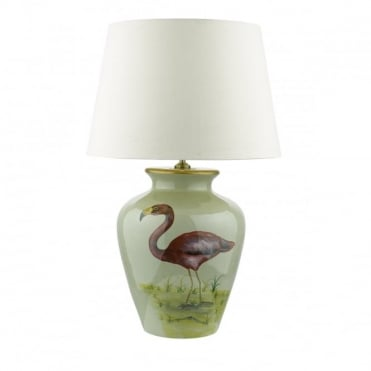 TOPEKA - Table Lamp Base Only Flamingo Pattern C/W Taupe Shade