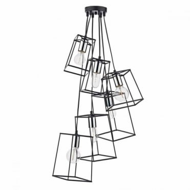 TOWER - 6lt Pendant Cluster in Chrome and Black